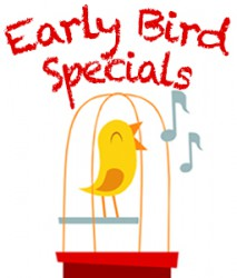 "bird in bird cage with ""early bird special"" text"